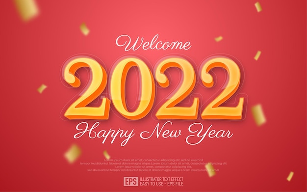 Happy new year 2022 yellow 3d text editable style effect template