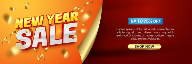 Happy new year 2022 yellow glossy modern banner template with 3d editable text effect