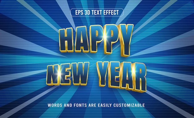 Happy new year 3d editable text effect