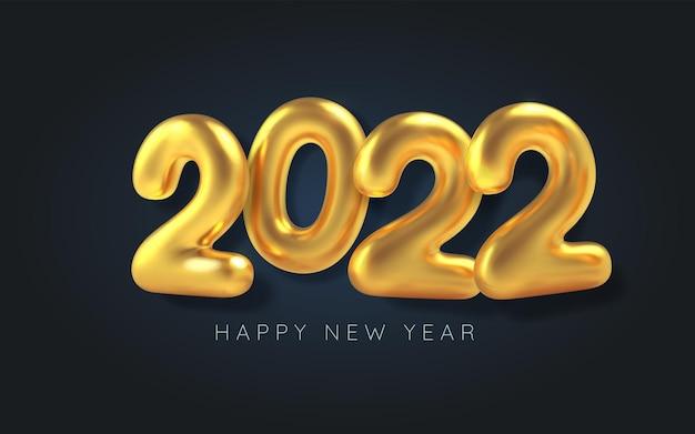 С новым годом. 3d реалистичный воздушный шар с золотой надписью 2022
