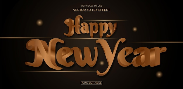 Happy new year 3d text effect design