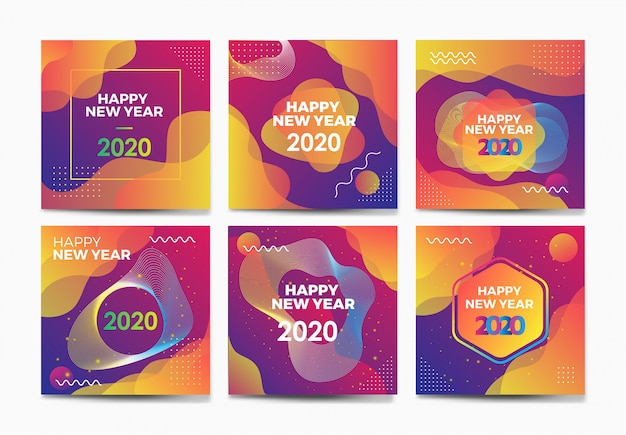 Happy new year abstract background template collection