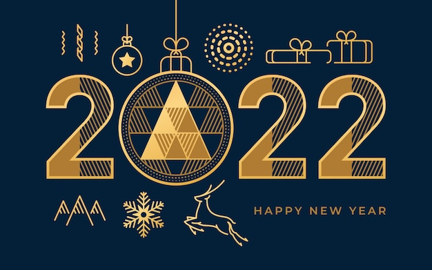Happy new year abstract geometry with golden calligraphy and flat line icons vector christmas