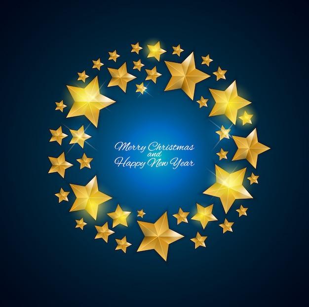新年あけましておめでとうございますと黄金の星とクリスマスの背景。 Premiumベクター