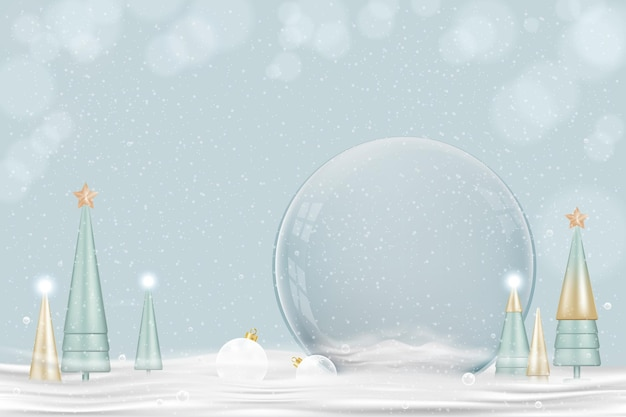 明けましておめでとうとメリークリスマスの背景。雪の上の円錐形の木とクリスマススノーボール、ガラスのスノードームの3dデザイン。お祝いのクリスマスの要素。ホリデーポスター、グリーティングカード、コピースペース付きチラシ