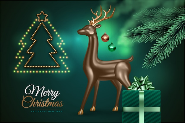 明けましておめでとうとメリークリスマス。クリスマスツリー、現実的な3 d鹿、ギフトとお祝いの緑の背景。