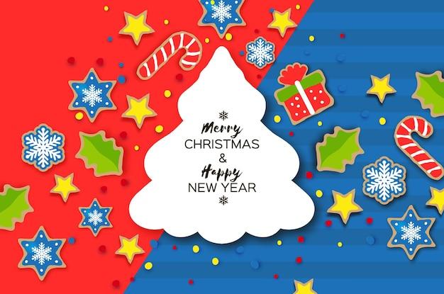 Поздравительная открытка с новым годом и рождеством. рождественские пряники в стиле вырезки из бумаги. животные. олень, лиса, кролик. рамка рождественской елки. зимние каникулы. вектор.