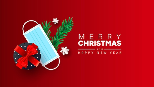 새 해 복과 메리 크리스마스 인사말 카드