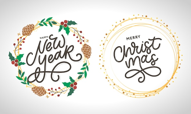 С новым годом и рождеством рукописный современный набор кистей