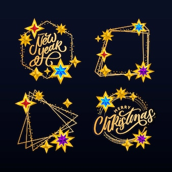 明けましておめでとうとメリークリスマスのレタリング構成は星と輝きで設定されています。