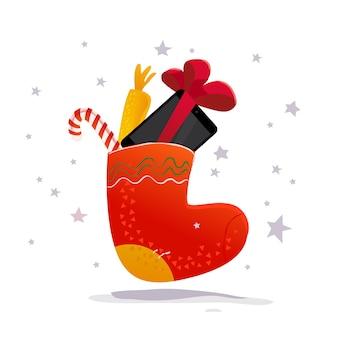 С новым годом и рождеством, подарок в традиционной подарочной носке. . планшет и смартфон. зимняя распродажа баннер элемент.