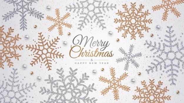 明けましておめでとうとメリークリスマス。黄金と銀の雪片で現実的な背景。バナー、ポストカード、ウェブサイトの休日イラスト