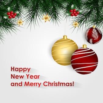 明けましておめでとうとメリークリスマス現実的なベクトルグリーティングカードとクリスマスボール