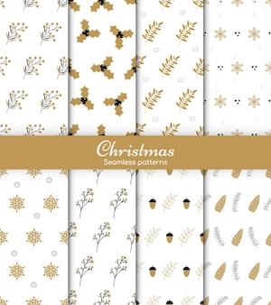 明けましておめでとうとメリークリスマス8つのかわいい冬の休日の背景のセット