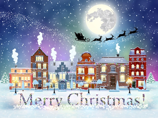 С новым годом и рождеством зимняя улица старого города с деревьями. санта-клаус с оленями в небе над городом. концепция для поздравительной и почтовой открытки, приглашения, шаблона, векторные иллюстрации