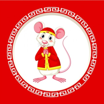 Happy new year background design with rat