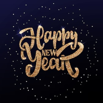 Happy new year on the background light bokhe
