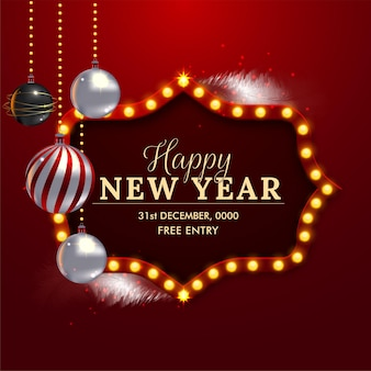 Happy new year background. retro new year light sign board vector illustration premium vector