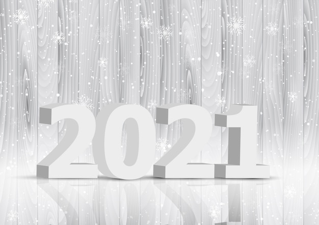 Happy new year background with 3d letters on wooden texture design