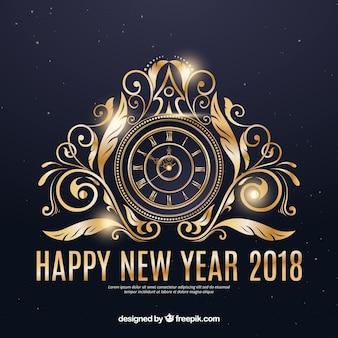 황금 시계와 함께 새 해 복 많이 받으세요 배경