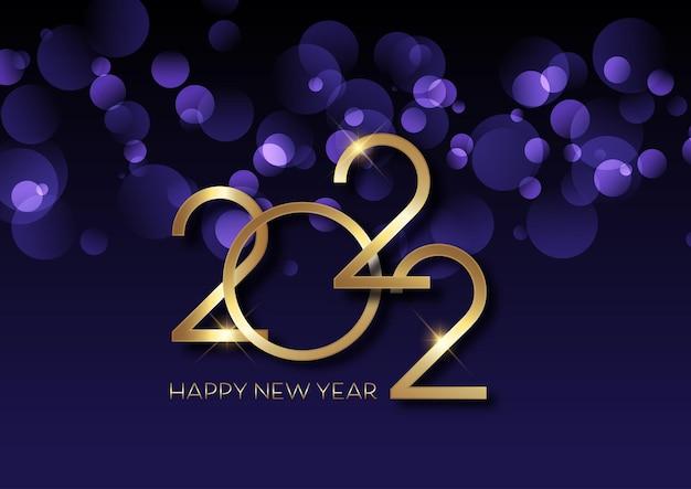 Sfondo di felice anno nuovo con luci bokeh e scritte in oro