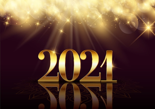 Happy new year background with an elegant gold design