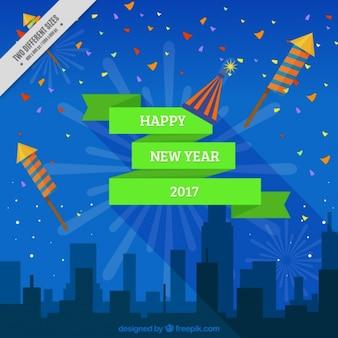 불꽃 놀이와 도시 실루엣 새 해 복 많이 받으세요 배경