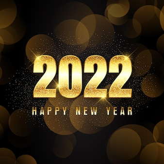 Sfondo di felice anno nuovo con scritte in oro scintillante