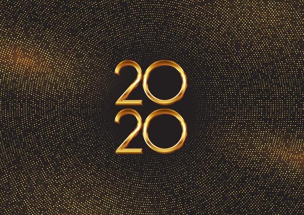 ゴールドドットと数字で幸せな新年の背景