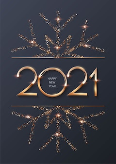 Happy new year  background with gold frame and snowflake.