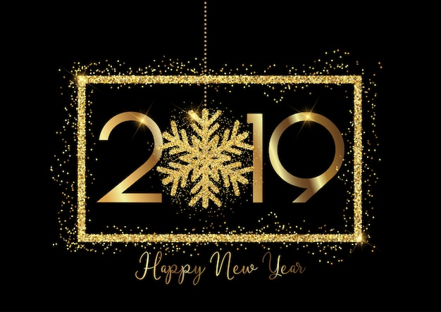 Happy new year background with gold lettering and glittery snowflake design