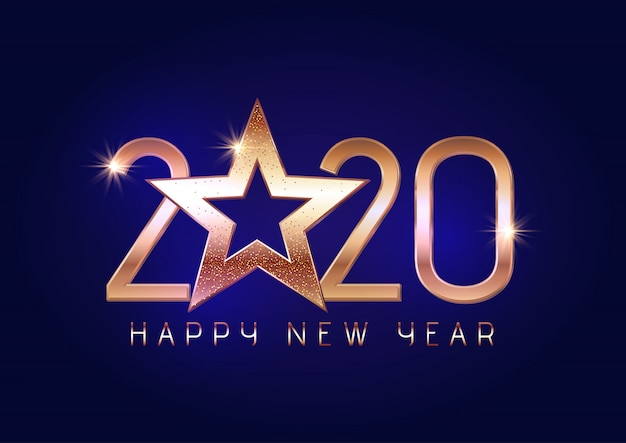 Happy new year background with gold lettering and star