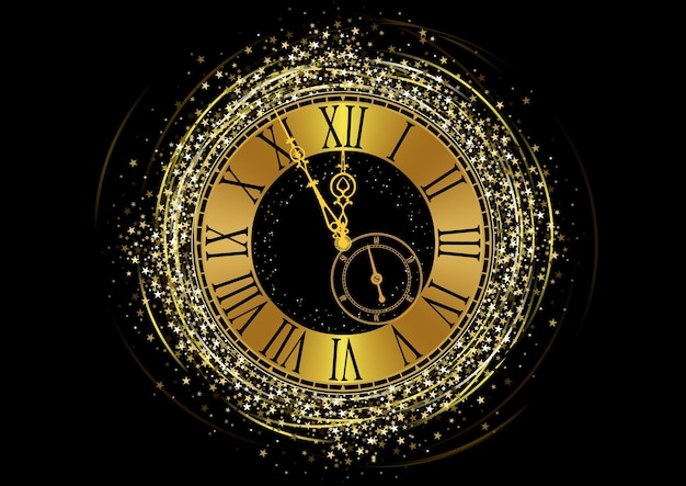 星のきらめきと黒の背景の上に金色の時計の文字盤と新年あけましておめでとうございます