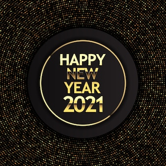 Happy new year background with golden halftone dots and metallic lettering