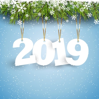 Happy New Year background with hanging numbers