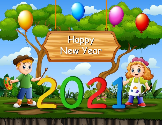 Happy new year background with kids painting