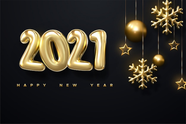 Happy new year background with realistic gold inscription 2021 and golden snowflake on a black horizontal background.