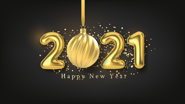 С новым годом фон с реалистичной золотой надписью.