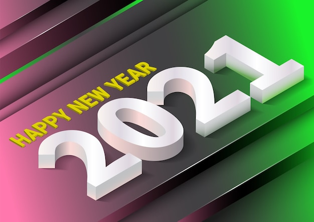 Happy new year background with realistic isometric style.