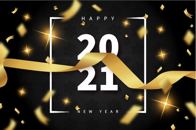 Happy new year background with realistic ribbon and 2021 text frame