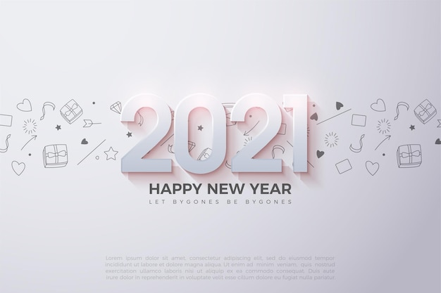 Happy new year background with shaded 3d numbers and small pictures as the background