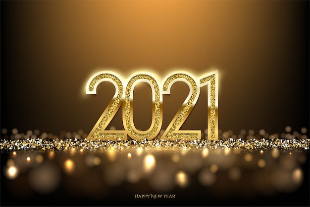 Happy new year background with spotlight and bokeh light