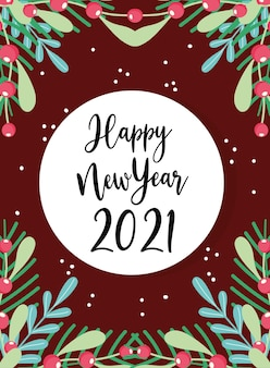 Happy new year badge with handwritten text and foliage season decoration