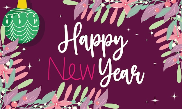 Happy new year ball and leaves foliage season with hand drawn text