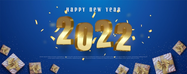 Happy new year banner in gold number 3d style