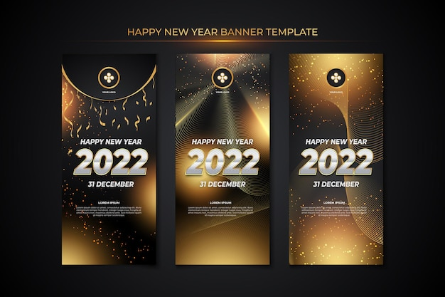 Happy new year banner template with black gold backround style