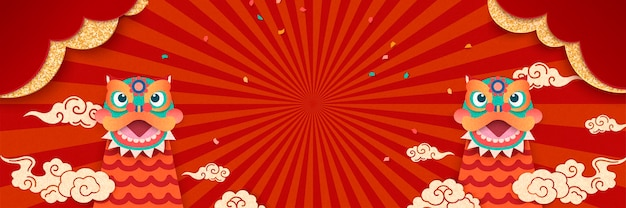 かわいい獅子舞と爆竹の要素を持つ新年あけましておめでとうございますバナー