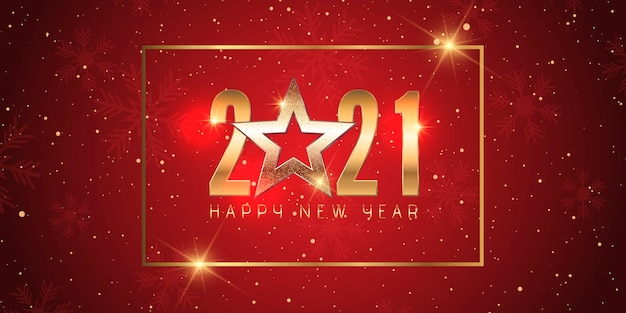 Happy new year banner with elegant red and gold design
