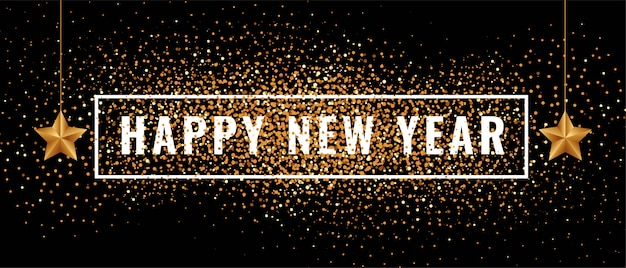 Happy new year banner with glitters