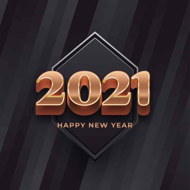 Happy new year  banner with  gold numbers on black background